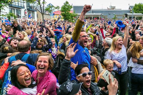 The crowd erupted when Iceland secured victory over Austria with a goal on the 94th minute.