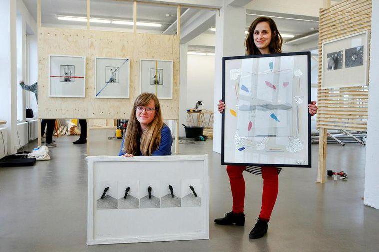 Þorgerður Ólafsdóttir and Becky Forstythe, exhibition directors of Rolling Line, works by Ólafur Lárusson.