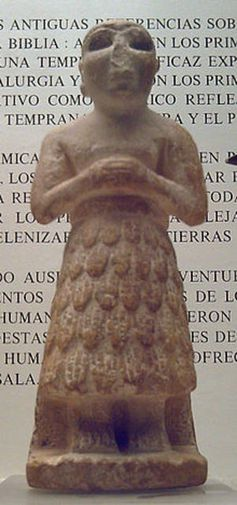 An ancient Sumeran statue dating from around 2520 BC. The Sumeran mythology is thought to ...
