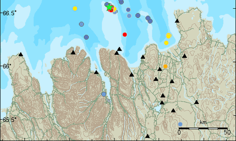The earthquake occured at Grímsey island, the northernmost point of Iceland.