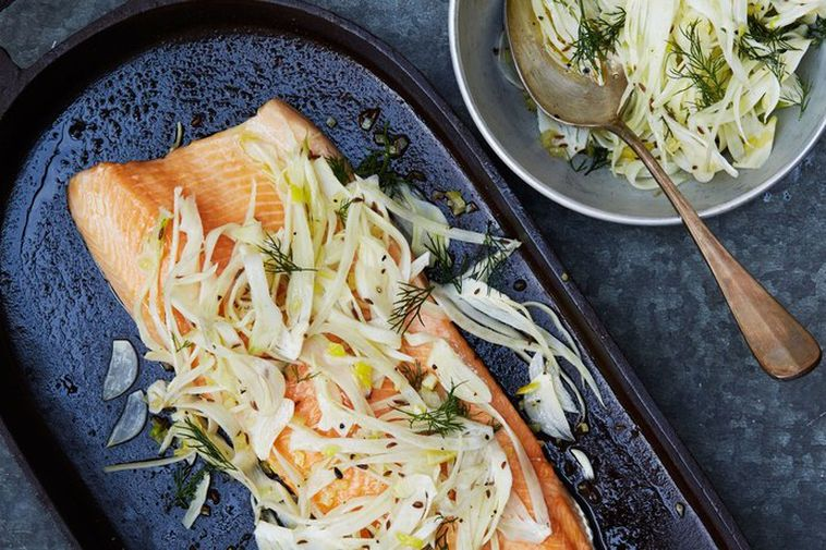 This elegant way to serve trout or salmon fillets has a distinctly Nordic flavour to ...