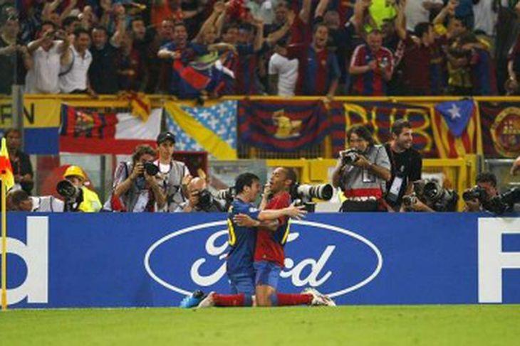 Messi og Thierry Henry fagna markinu.