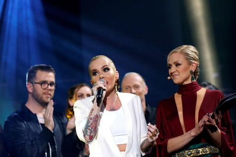 Ragnhildur Steinunn Jónsdóttir, on the far right, wearing the controversial outfit. In the middle is Svala, who will be singing Iceland's entry to the Eurovision song contest in May.