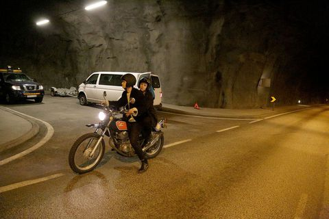 The motorbike in Hvalfjörður tunnel.