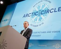 Guðni Th. Jóhannesson, President of Iceland, at the Arctic Circle assembly in Reykjavik today.