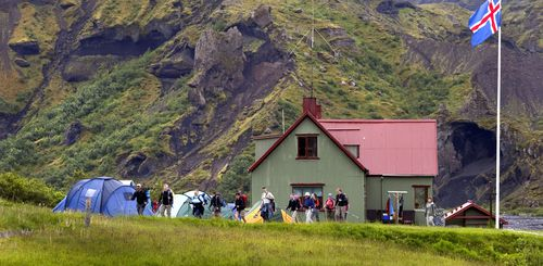 Mountain huts and sleeping bag