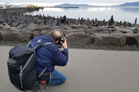 The latest tourist craze in Reykavik began on Tuesday, building these things on the shoreline.