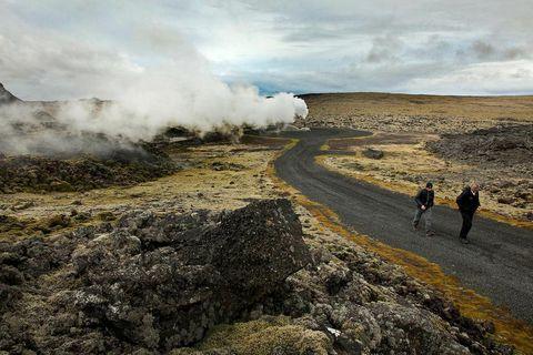 Geothermal energy in Reykjanes, Iceland.