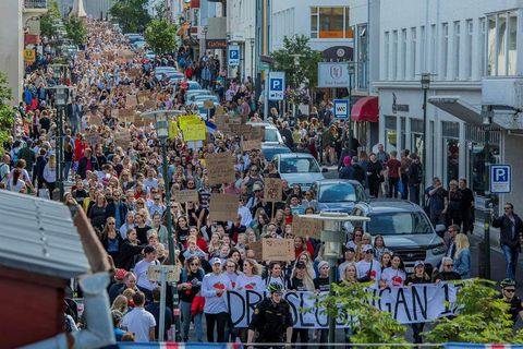 The Reykjavik Slut Walk in 2017 where thousands of people marched for victims of sexual abuse.