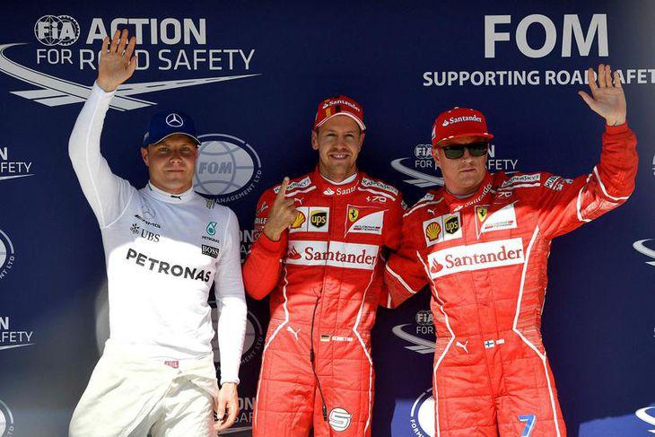 Fyrstu þrír í tímatökunni í Búdapest, frá avinstri: Valtteri Bottas, Sebastian Vettel og Kimi Räikkönen.
