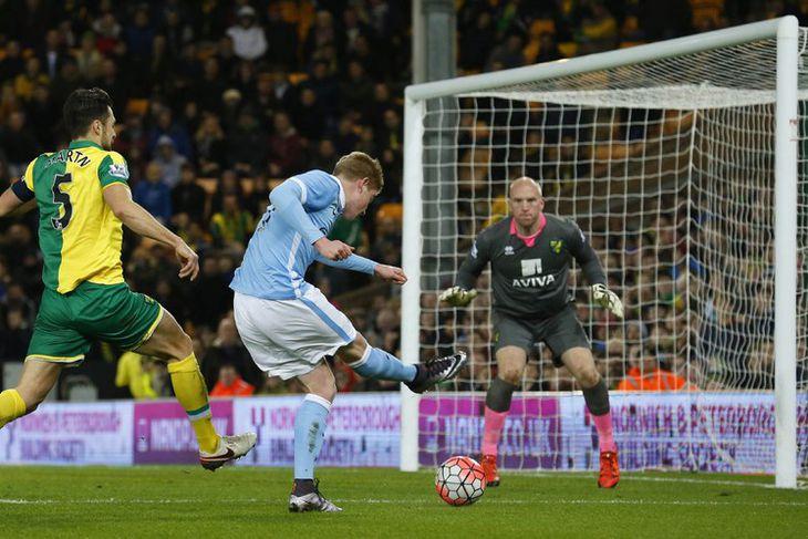 Kevin De Bruyne innsiglar sigur City gegn Norwich.