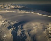 A photograph taken of Öræfajökull this morning.