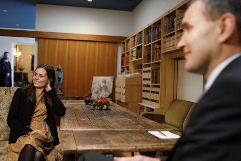 Katrín Jakobsdóttir at Bessastaðir recently with President Jóhannesson.