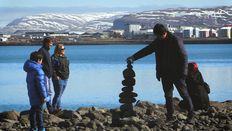 Cairn building craze at Reykjavik's Harpa concert hall