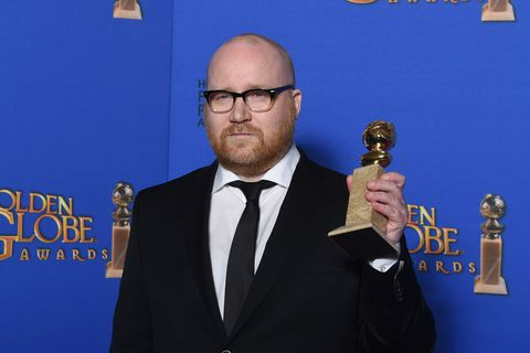 "Composer Jóhann Jóhannsson holds the award for Best Original Score, Motion Picture for ""The Theory of Everything,""  at the 72nd annual Golden Globe Awards."