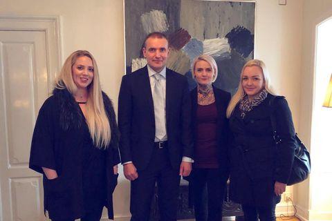 Anna Katrín, President Guðni Th. Jóhannesson, Glódís Tara and Halla Ólöf at Bessastaðir today.