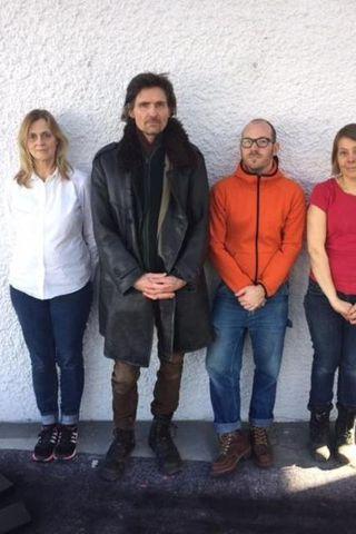Sænsku myndlistamennirnir Christina Göthesson, Susanne Högdahl Holm, Joel Hurlburt og ...