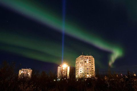 Northern Lights in Reykjavik last night.