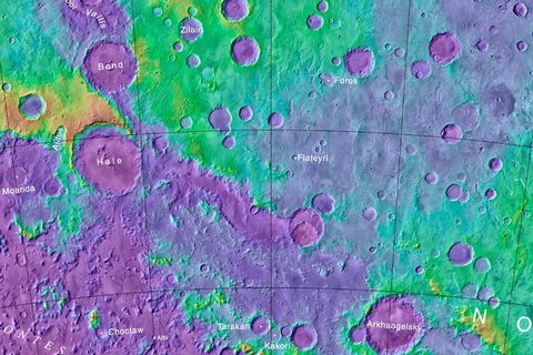 The crater Flateyri is on the south pole of Mars and is 9.5 kilometres wide and 1 km deep.