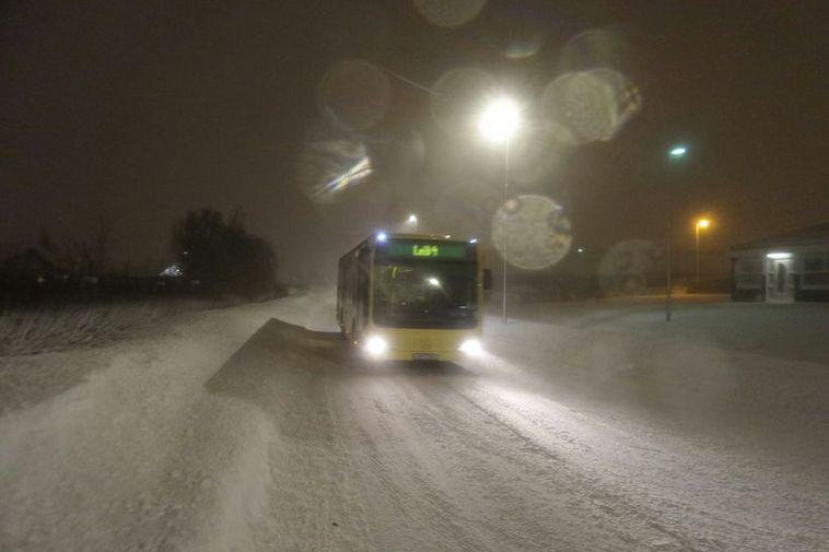 A bus in Akureyri this morning.