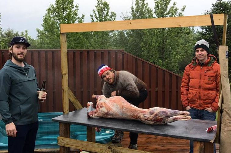 Here's Kristinn Guðmundsson, in the middle, just before the live broadcast started. The hot tub ...