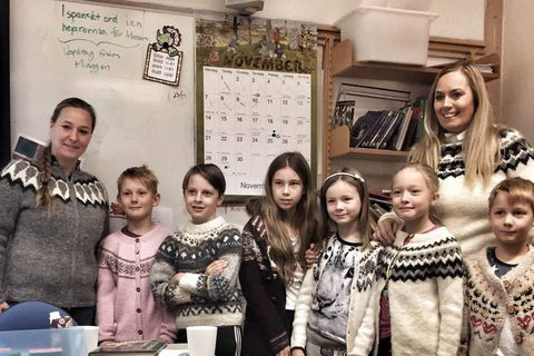 Swedish children in Icelandic jumpers.