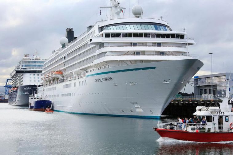 The Crystal Symphony and Mein Schiff at Reykjavik harbour last summer.