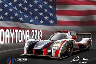 Keppnisbíll Alonso í Daytona. Hann er franskur af gerðinni Ligier JS P217.