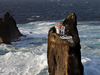 The lighthouse is surrounded by open water and is precariously perched on a cliff.