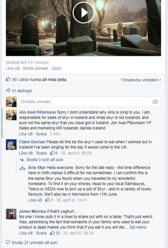 A dialogue on Arla's Facebook page. Arla claim to be located in Höfn, east Iceland ...