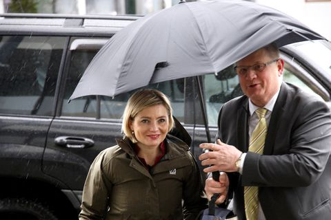Lilja Dögg Alfreðsdóttir arrives at the Foreign Ministry on Friday.