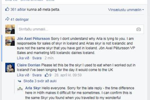 A dialogue on Arla's Facebook page. Arla claim to be located in Höfn, east Iceland and promise  that they are selling Icelandic skyr.