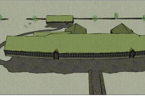 A drawing of a proposed Viking farm which will rise in the area.