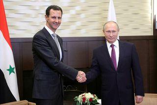 Vladimir Pútín ásamt Bashar al-Assad, forseta Sýrlands.