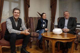 Bjarni Benediktsson, Katrín Jakobsdóttir og Sigurður Ingi Jóhannsson í ráðherrabústaðnum í gær.