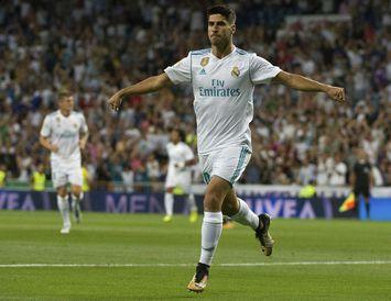 Marco Asensio fagnar marki með Real Madrid.