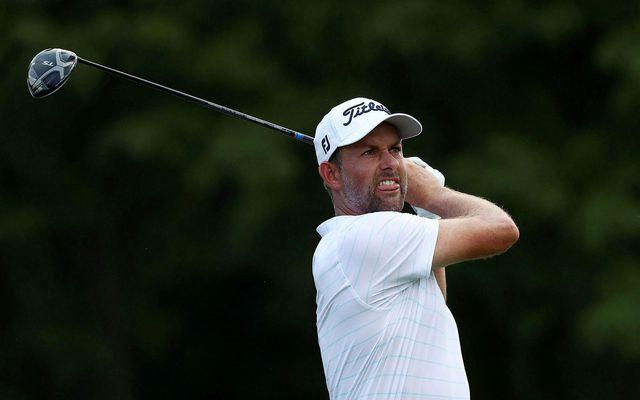 Webb Simpson hefur leikið frábært golf í Detroit í Bandaríkjunum um helgina.