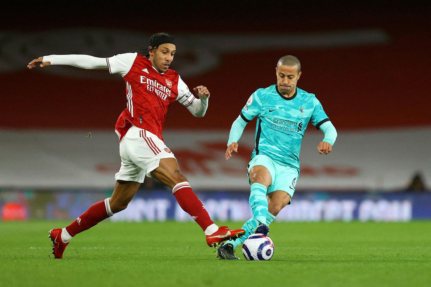 Pierre-Emerick Aubameyang átti ekki góðan leik á móti Liverpool.