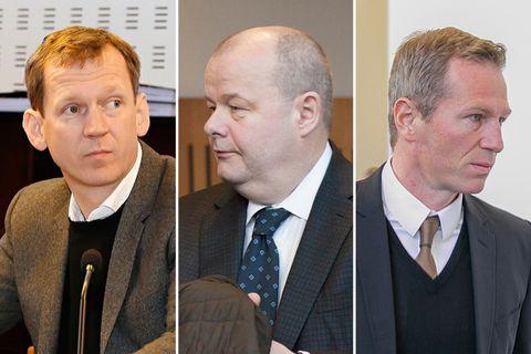 Hreiðar Már Sigurðsson, fyrrverandi forstjóri Kaupþings, Sigurður Einarsson, fyrrverandi stjórnarformaður Kaupþings, og Magnús Guðmundsson, fyrrverandi …