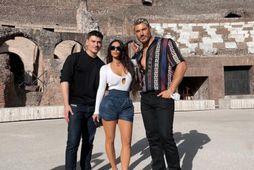 Kim Kardashian ásamt Mario Dedivanovic og Chris Appleton.