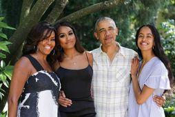 Michelle, Sasha, Barack og Malia Obama.
