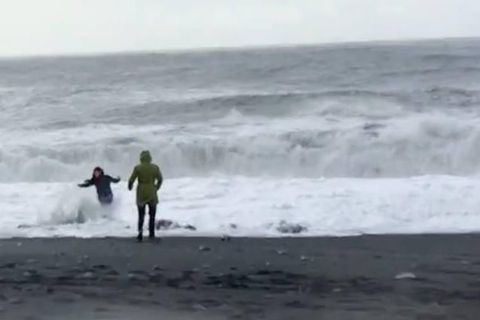 A woman was in grave danger of being swept out to sea on Sunday.