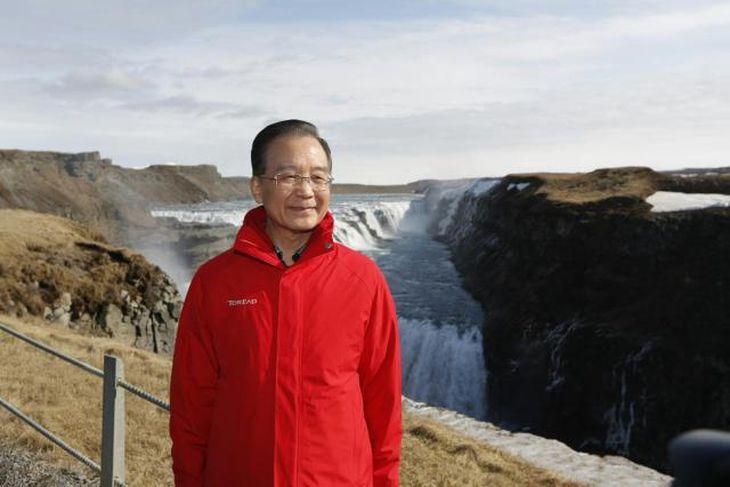 Wen Jiabao, forsætisráðherra Kína, við Gullfoss