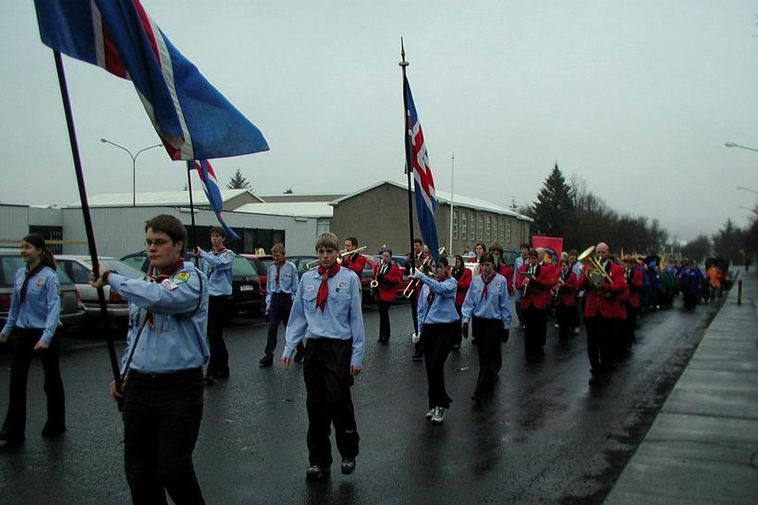 The first day of summer parade is most often led by the scout movement.