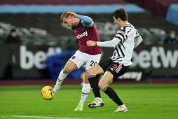 Jarrod Bowen í leik með West Ham United gegn Manchester United á síðasta tímabili.