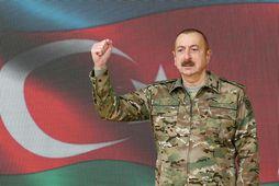 Ilham Aliyev, forseti Aserbaídsjan, í sjónvarpsávarpi sínu í dag.