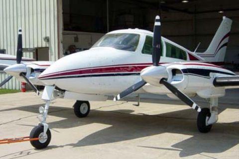 Cessna flugvélin sem lenti í sjónum.