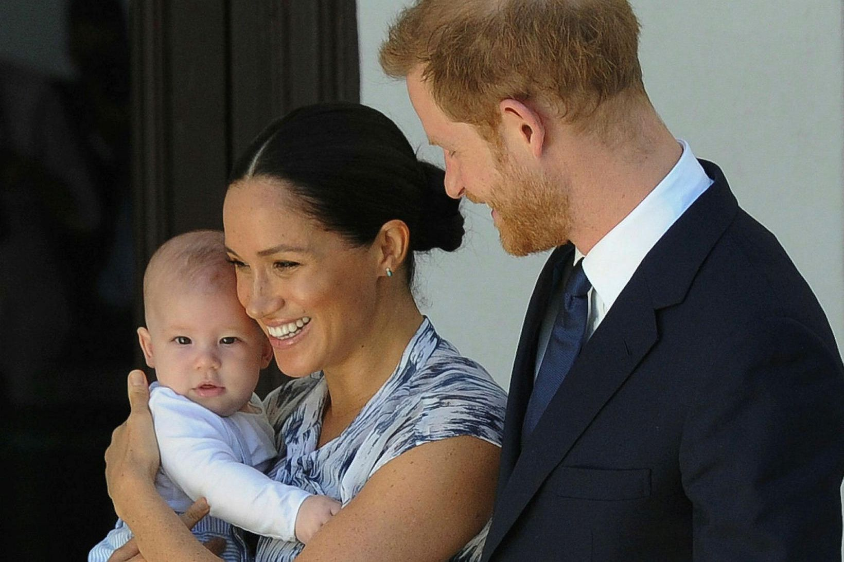 Archie með Harry og Meghan í september.