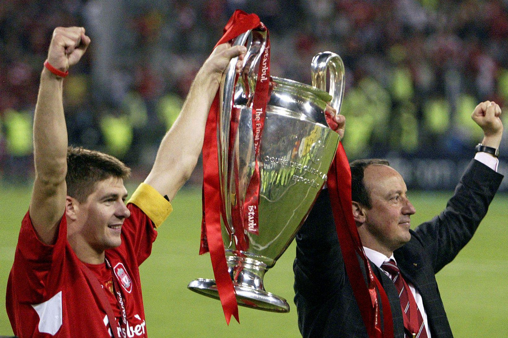 Steven Gerrard og Rafael Benítez urðu Evrópumeistarar með Liverpool árið …