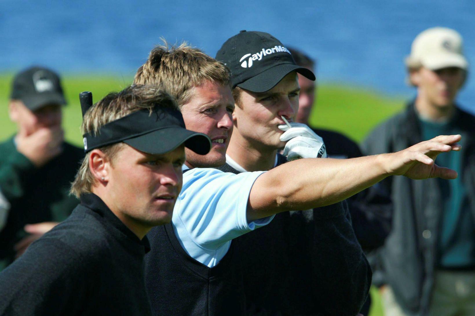 Ólafur Már Sigurðsson, Björgvin Sigurbergsson og Justin Rose.